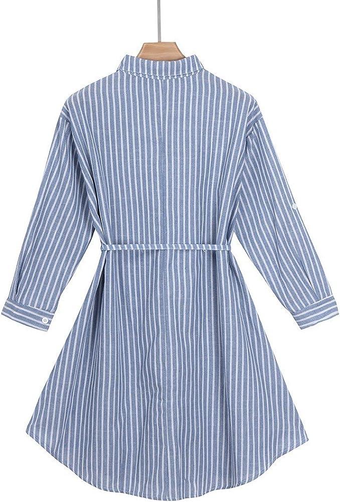 Vestiti maternit/à Elegante Premaman Blu-Stripes Abito Gravidanza Vestito Donna Allattamento Abiti Gonna a Camicia Autunno Invernali Premaman Costume Abbigliamento Incinta Dress