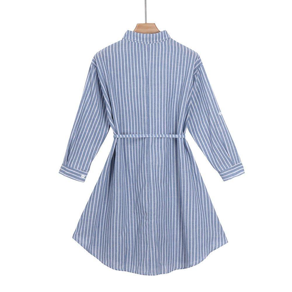 Cinnamou Embarazadas azul y blanco rayas verticales vestido de camisa de vestir: Amazon.es: Ropa y accesorios