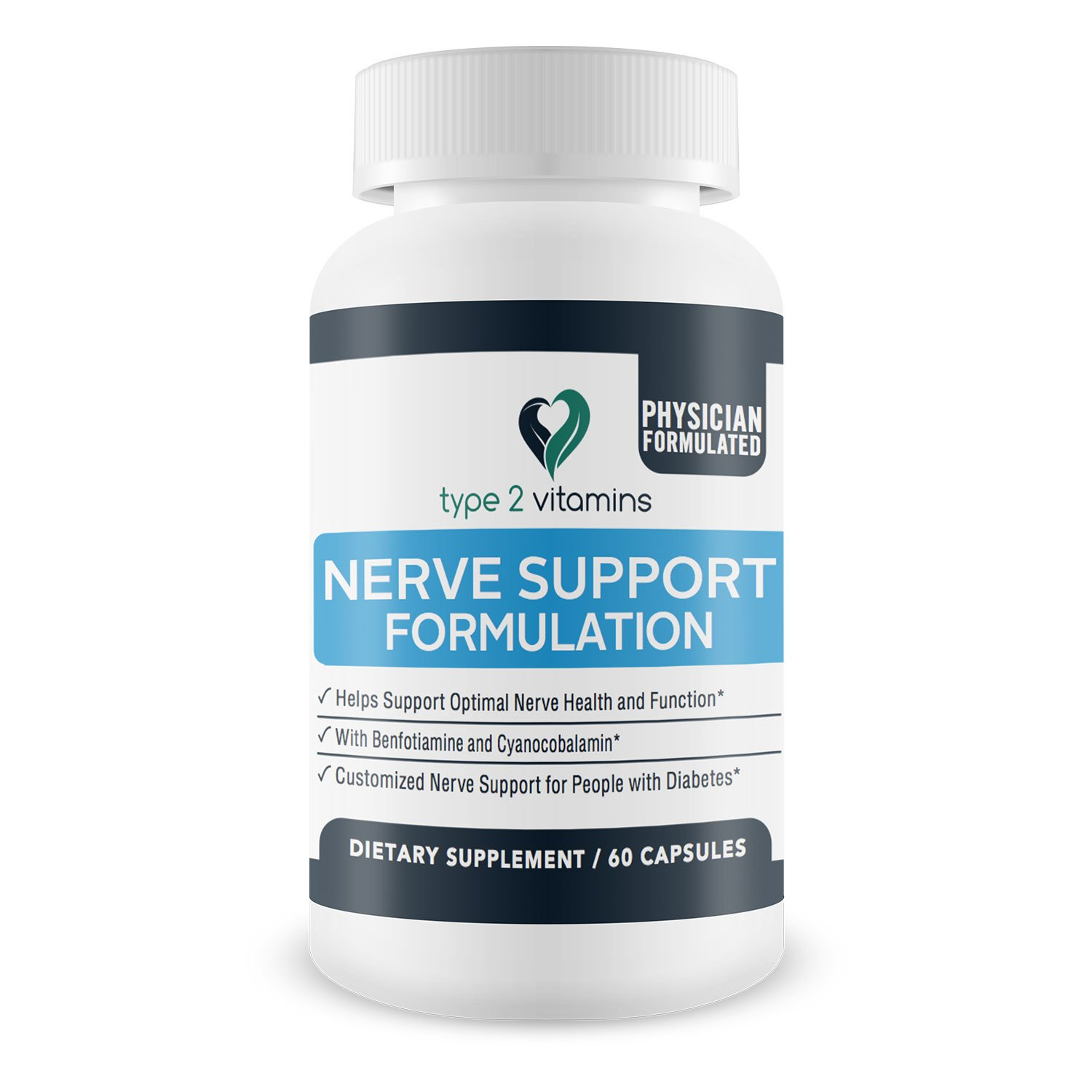 Type 2 Vitamins Nerve Support Formulation - 60 Tablets - Neuropathy and  Nerve Pain Vitamin Supplement