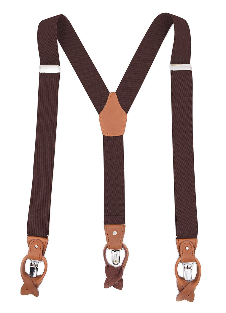 MENDENG Men's Suspenders Braces Leather Strap Father/Husband's Gift 6 Buttons ht2192