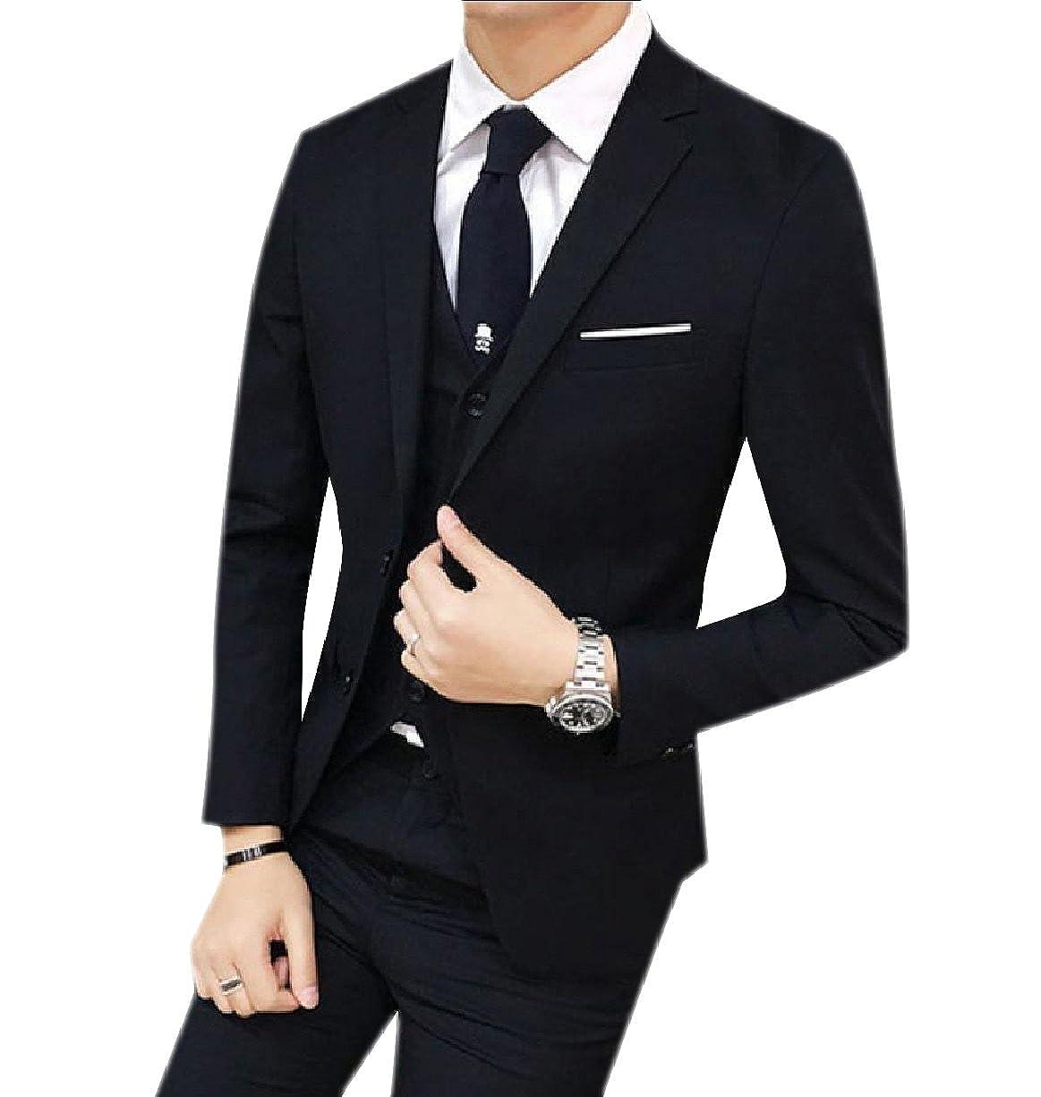 Black Tootless-Men Set 3-Piece Slim Fit Fit Fit Wedding Tuxedo Two-Button Business Suit 54a3ad