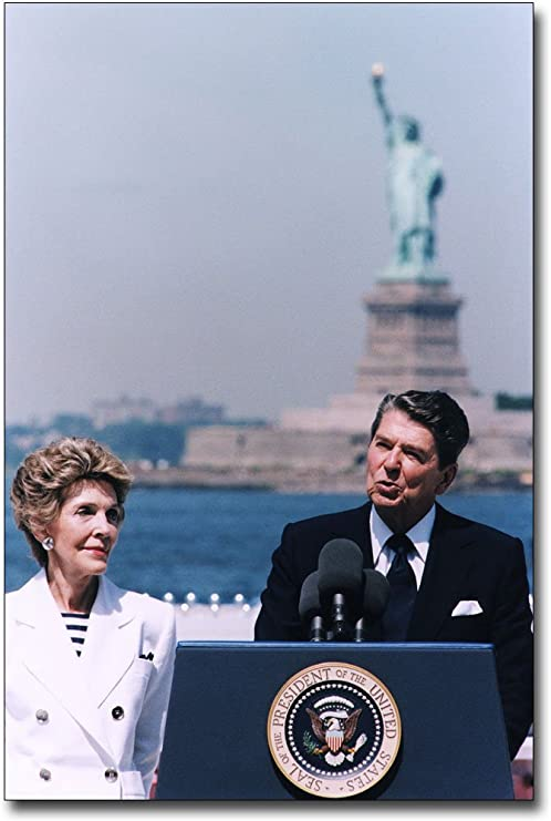 PRESIDENT RONALD REAGAN STATUE OF LIBERTY 8x12 SILVER HALIDE PHOTO PRINT