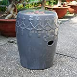 International Caravan Tasseled Drum Ceramic Garden Stool - Gey