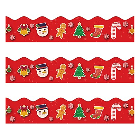 Christmas Bulletin Borders Stickers 50 Ft Christmas Decoration Borders For Bulletin Board Santa Claus Gingerbread Man Candy Trim Teacher Student