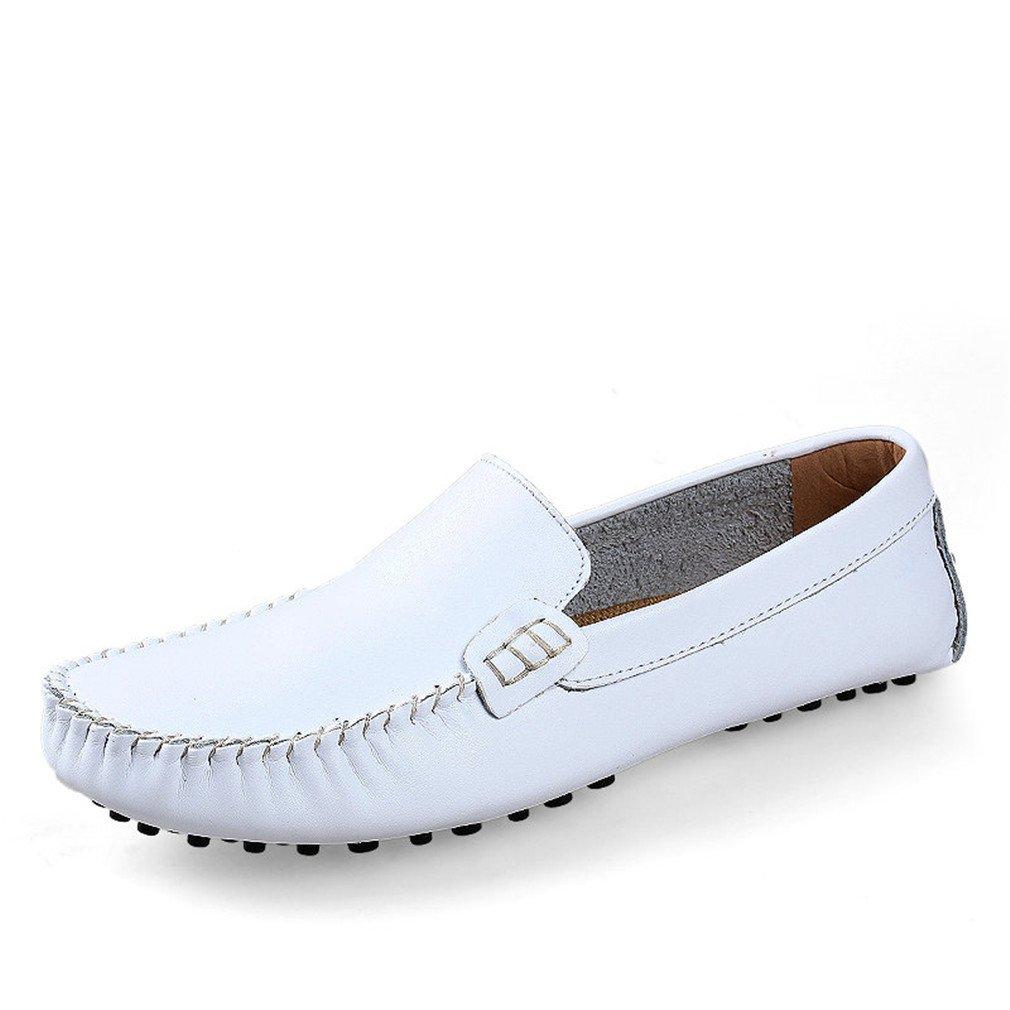Hombres Zapatos de cuero genuino Hombres de la moda Zapatos casuales Mocasines Mocasines Drivng Zapatos Zapatos Tamaño grande 35~47 6.5 White