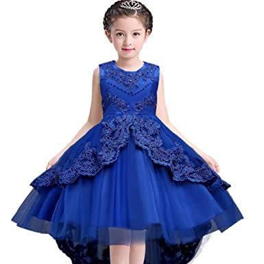 MCERMR Kids Girls Wedding Party Dress High Low Prom Dresses Flower Girls Dresses 3-13
