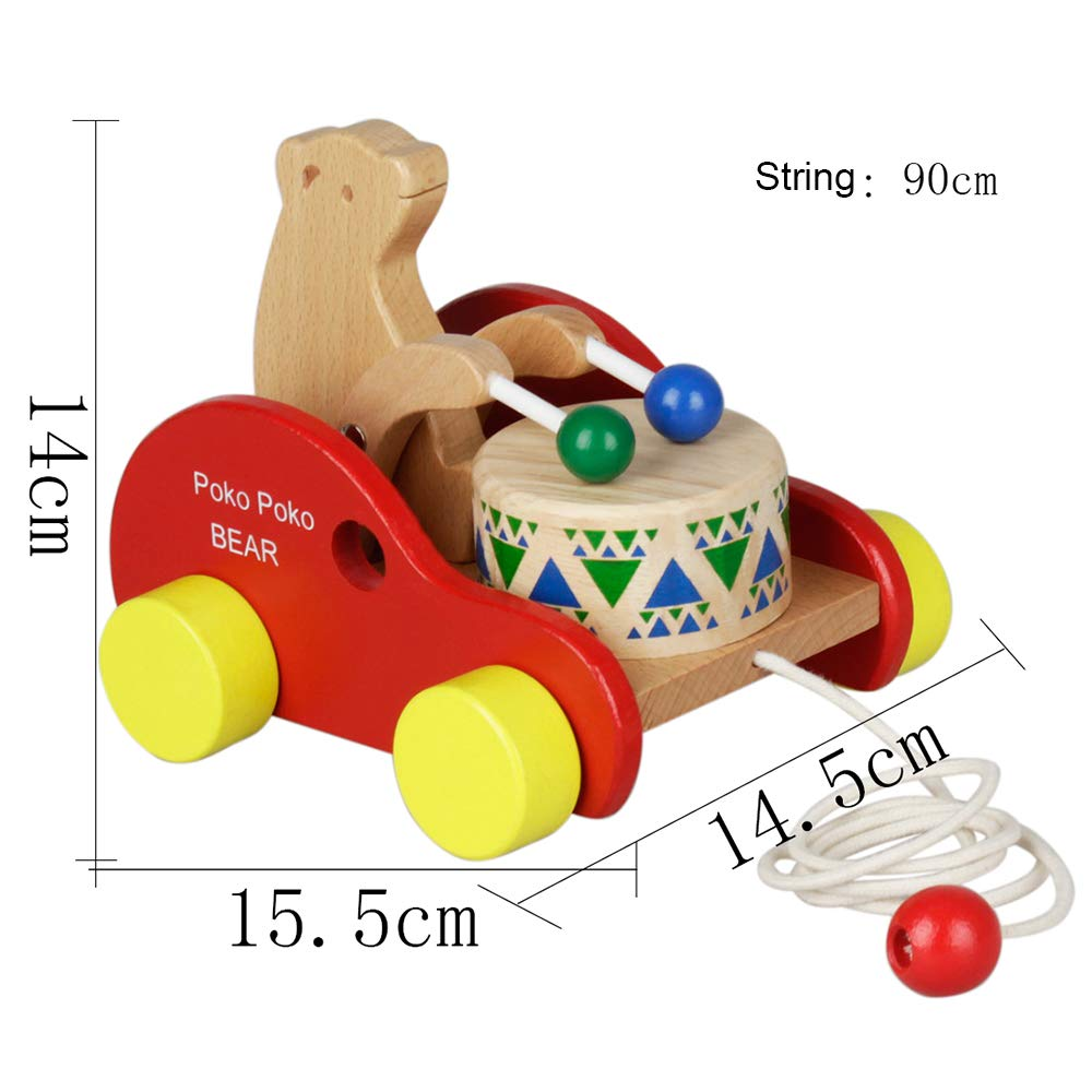 Festnight Holz B/är Trommel ziehen entlang Spielzeug Kinder Kinder Muscial p/ädagogisches Spielzeug Buche Massivholz ziehen Spielzeug f/ür Kleinkind