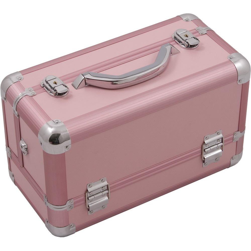 Hiker HK3101 Professional Makeup Artist Cosmetic Train Case Organizer Storage 3-Tray Brush Holder, Smooth Pink, 1-Count HK3101PPPK
