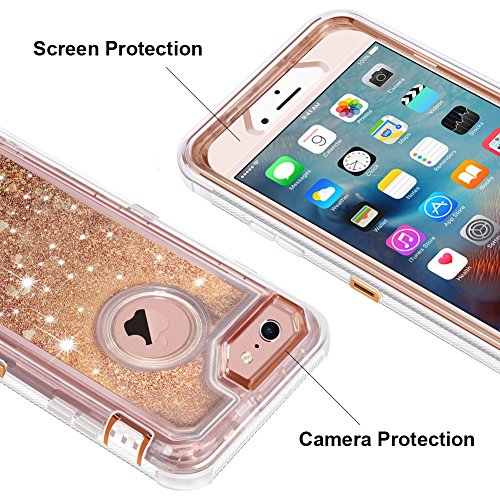 iPhone 6S Plus Case, iPhone 6 Plus Case, Anuck 3 in 1 Hybrid Heavy Duty Defender Case Sparkly Floating Liquid Glitter Protective Hard Shell Shockproof TPU Cover for iPhone 6 Plus/6S Plus - Rose Gold