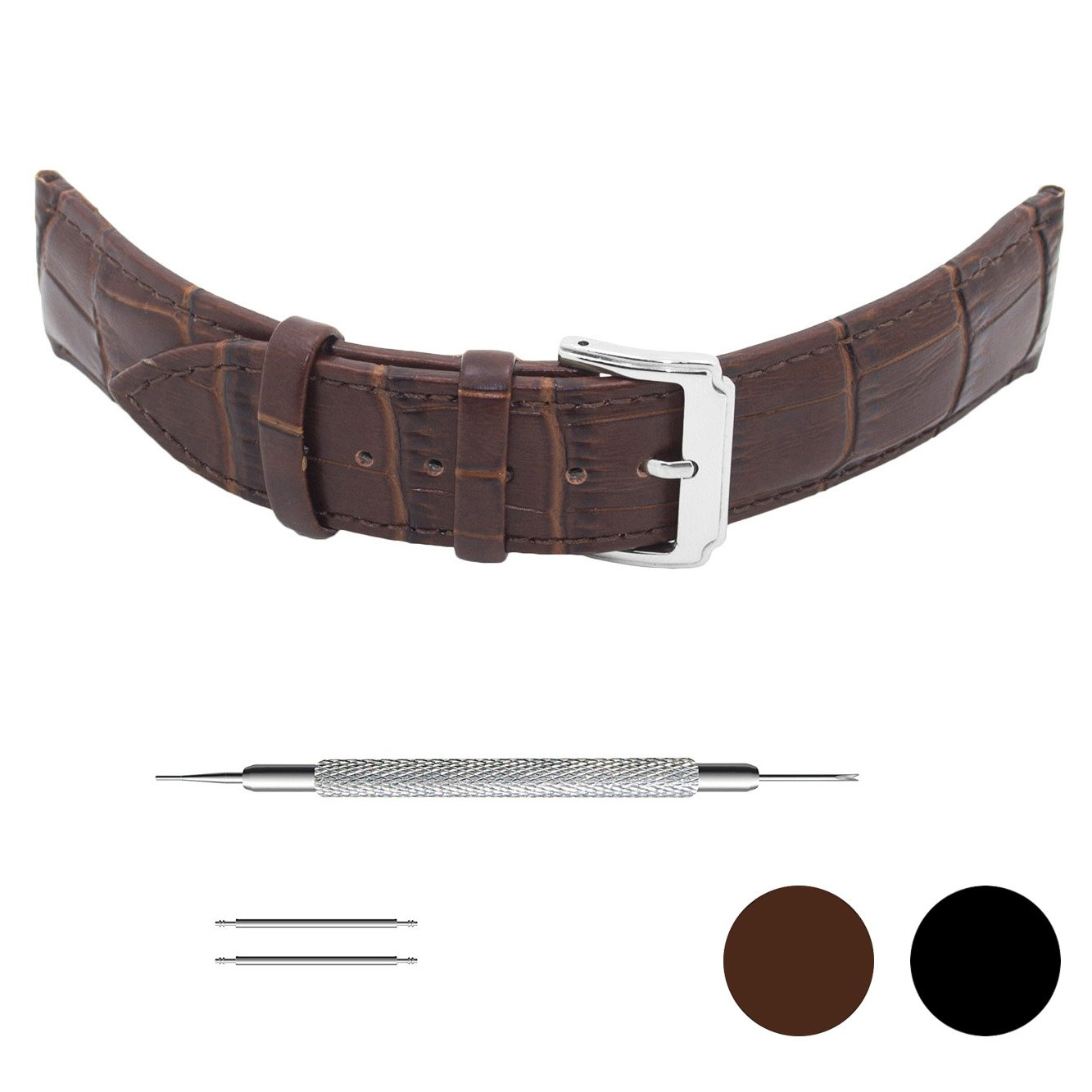 Genuinue Leather Wrist Watch Bands Strap for Men Women Ladies with Stainless Buckle (18mm, Brown)