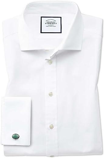 Camisa Blanca de Popelina de algodón Egipcio Slim fit con Cuello Italiano: Amazon.es: Ropa y accesorios