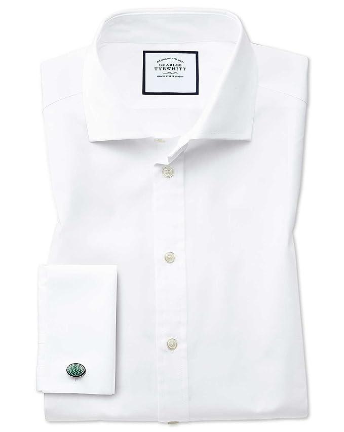 Slim Fit Hemd aus ägyptischer Baumwolle und Popeline mit Haifischkragen in  Weiß: Amazon.de: Bekleidung