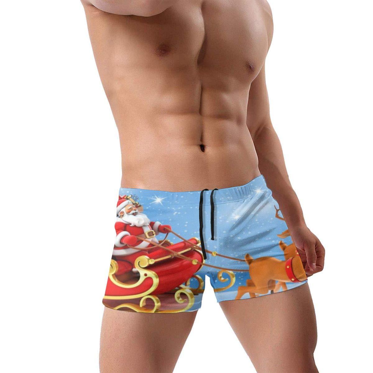 349tg1u Santa Sleigh Mens Swim Trunks Shorts Athletic Swimwear Briefs Boardshorts