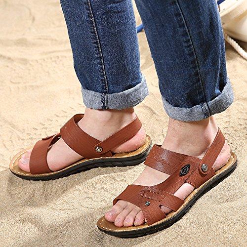 Sommer Das neue Männer Sandalen Strand Schuh Männer Schuh Sandalen Dualer Gebrauch Mode Atmungsaktiv Freizeit Sandalen ,braun,US=10,UK=9.5,EU=44,CN=46