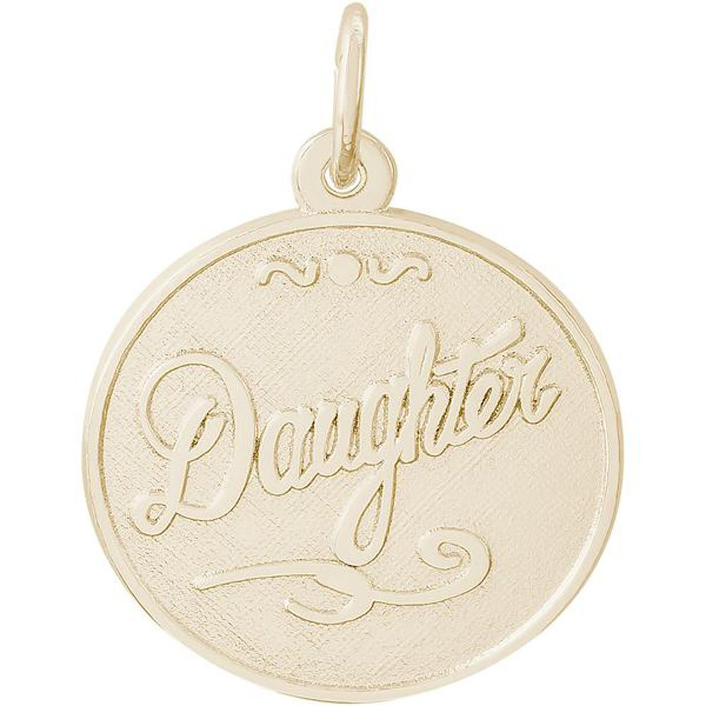 Rembrandt Charms Round DISC Daughter Charm in Gold OR Silver (14k Yellow Gold)