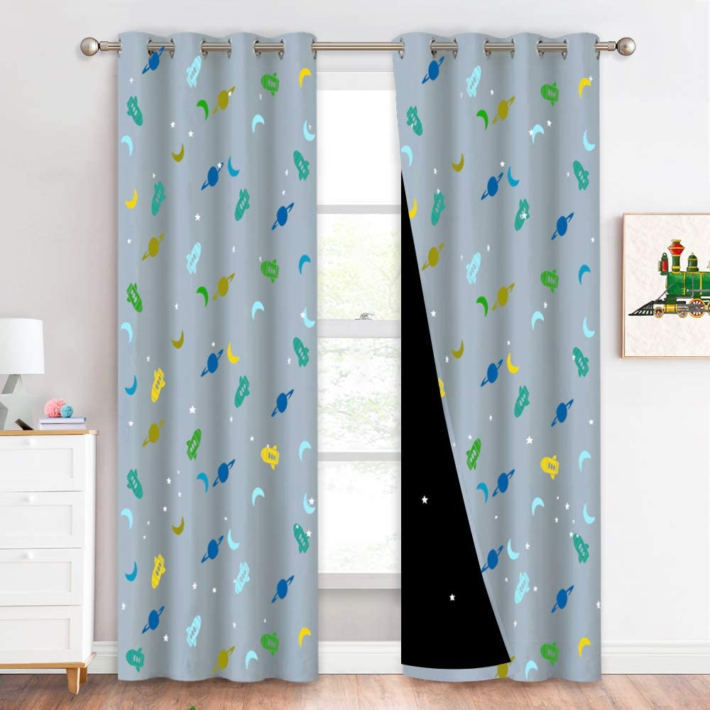 """NICETOWN Grommet Magic Rocket Moon Planet Pattern Printed Blackout Curtains with Laser Cut Starry Liners for Kids Room Decor/Baby Boy Girl Nursery, 52"""" Wide and 95"""" Long, Grey, Set of 2."""