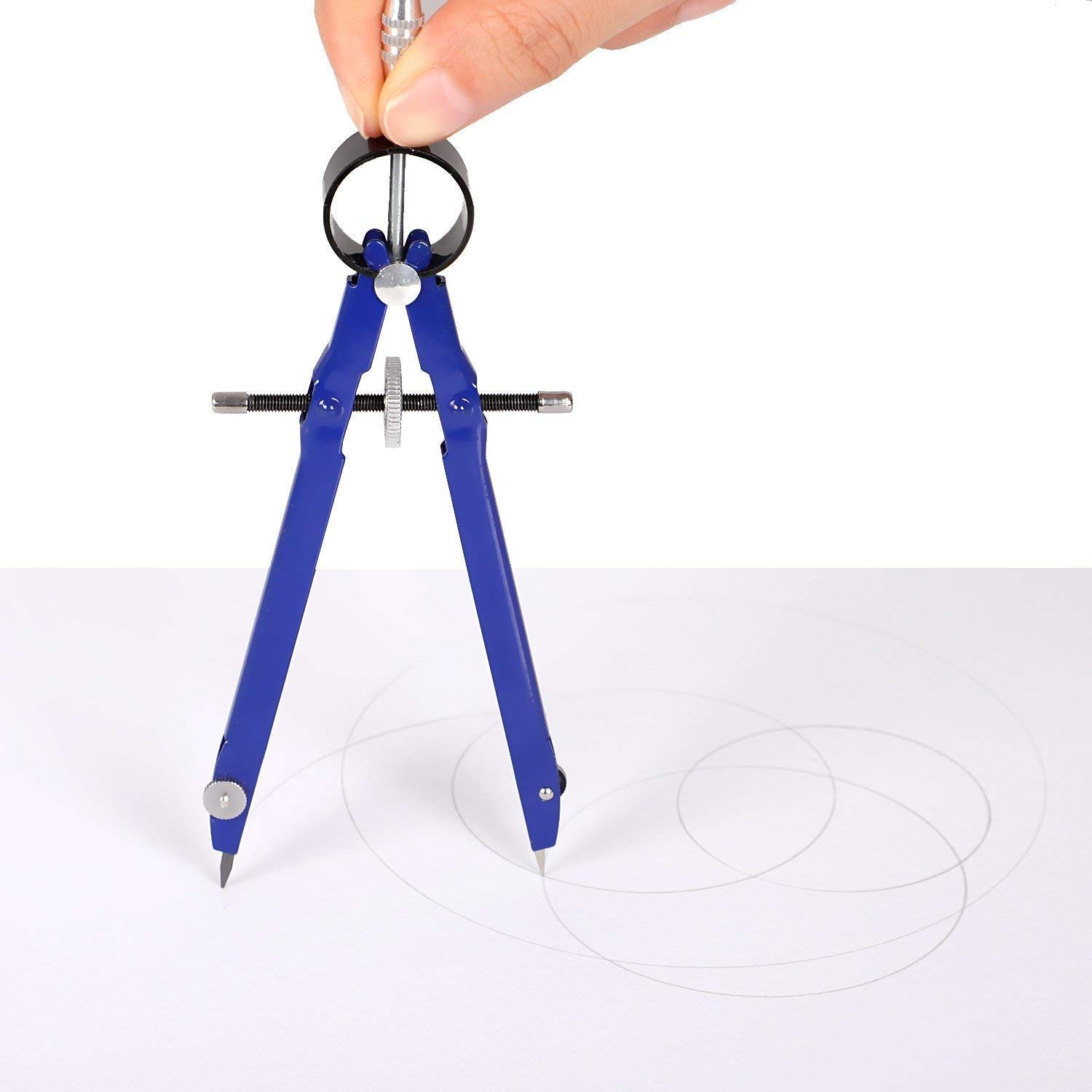 Drawing Student Compass with Spare Leads and Screws 3 Pack Math Compass Metal Geometry Compass for Math Drafting