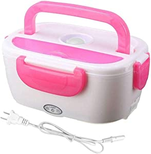40W Electric Heating Lunch Box Portable Lunch Containers Warming Bento Food Storage Warmer Container (Color : Pink, Size : US Plug)
