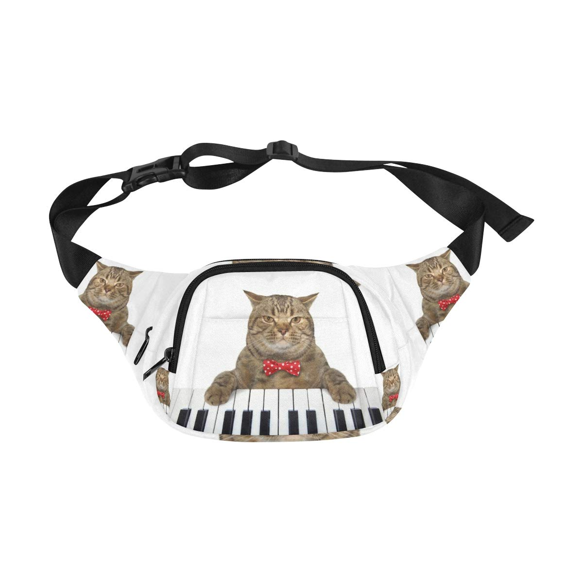A Cute Cat Playing The Piano Fenny Packs Waist Bags Adjustable Belt Waterproof Nylon Travel Running Sport Vacation Party For Men Women Boys Girls Kids