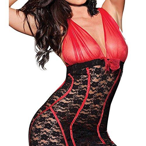 Yucode Women Sexy Plus One Size Bow Lace Racy Underwear Spice Suit Temptation Underwear -