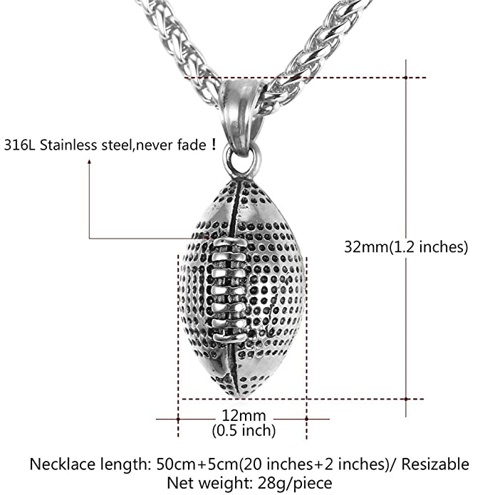 Cool Rugby Pendant Necklace Men Jewelry Fashion Stainless Steel