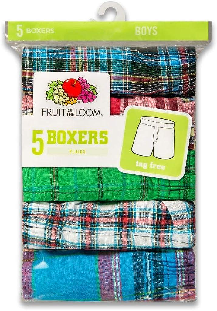 Fruit of the Loom Boys Tartan Woven Boxer Pack of 3