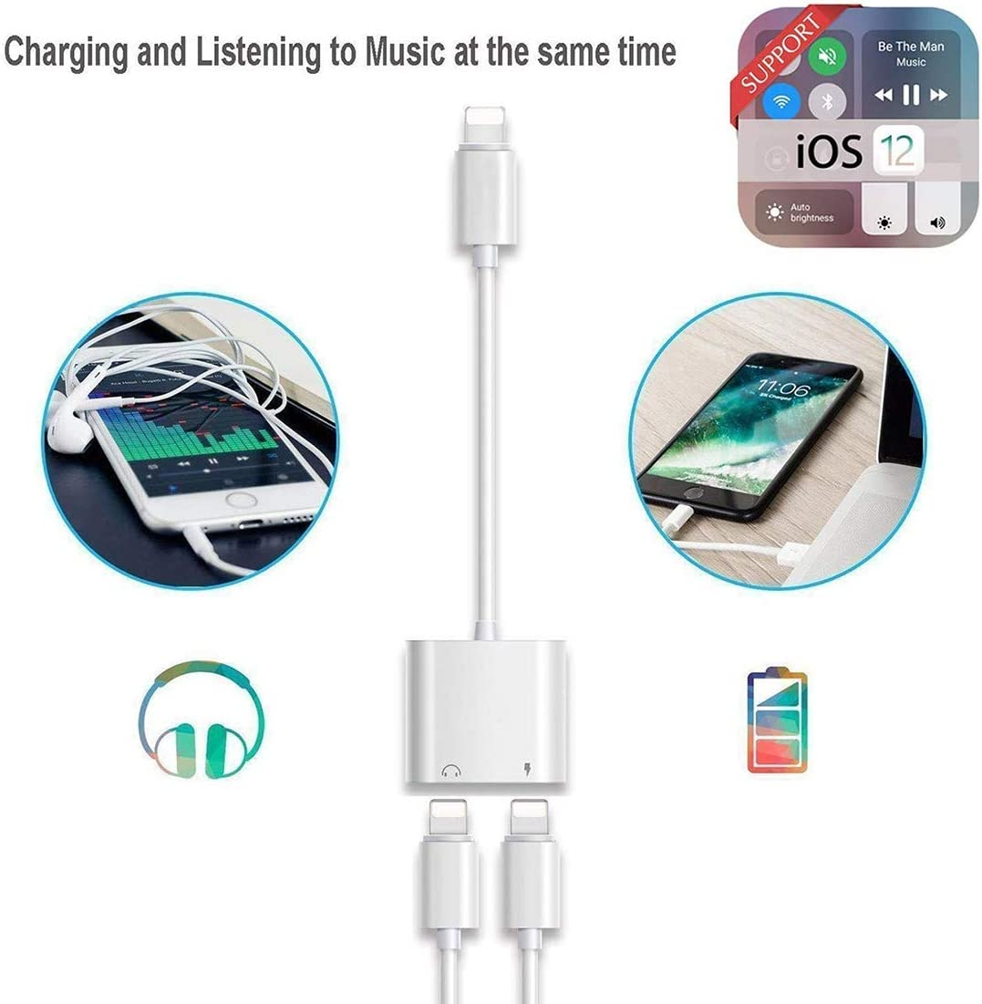 Headphone Adapter for iPhone AUX Audio Jack Dual Adaptor Audio+Call+Volume Control Dongle Splitter Earphone Adapter Converter Compatible with iPhone 7//7 Plus//8//X//XR//XS//XS Max//11 Pro Support All iOS