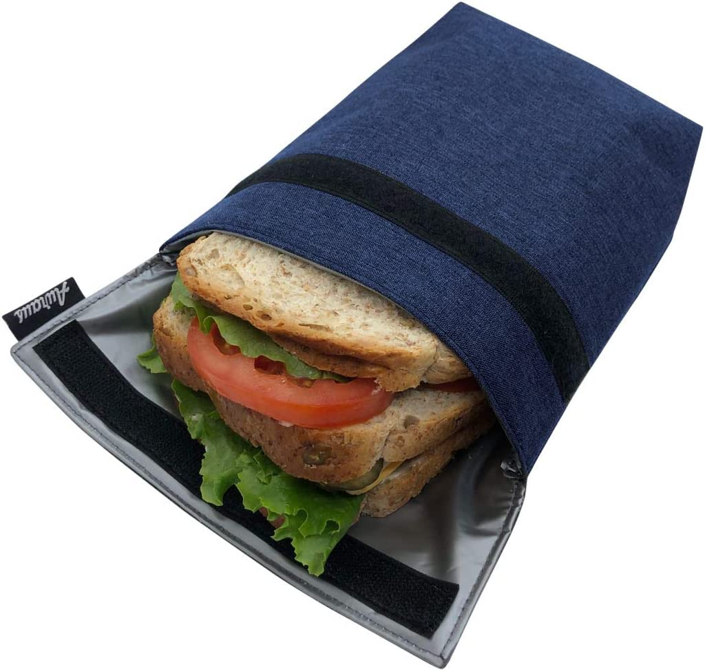 Insulated Reusable Eco Snack bag, Sandwich bag, Food Pouch, Insulated Lunch Bag, Insulin Cooling Case, golf pouch, Work, Picnics, Travel, Men, Woman (Navy Blue)