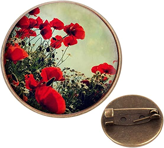 Vintage Bronze Plated Poppy Floral Design Brooch New in Gift Bag Christmas Gift
