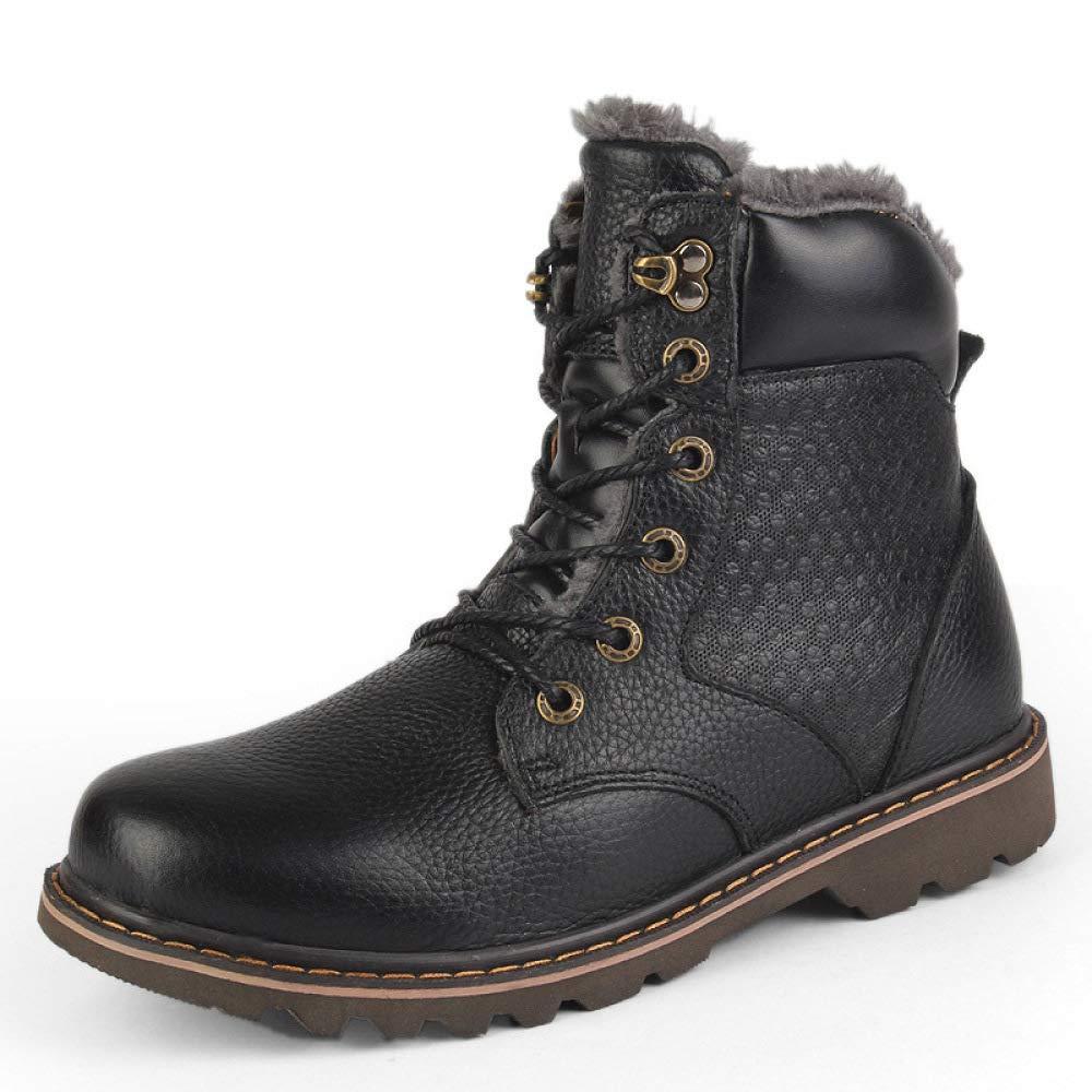 WANG-LONG Schuhe Herren Stiefel Martin Martin Martin Winter Plus Samt Warme Werkzeug Baumwolle Lederstiefel Rutschfeste Mode High-Top,schwarz-46 dc4c82