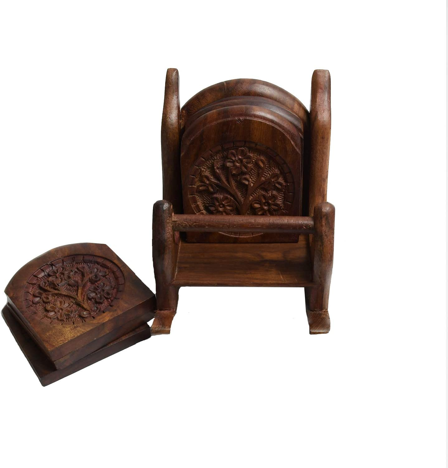 ARIJA Wooden Drink Coasters Set - 100% Natural Acacia Wood with Beautiful Carved Style, Easy to Clean - 6-Piece Coasters Set with Chair Design Holder for Home, Office & Kitchen Table Décor