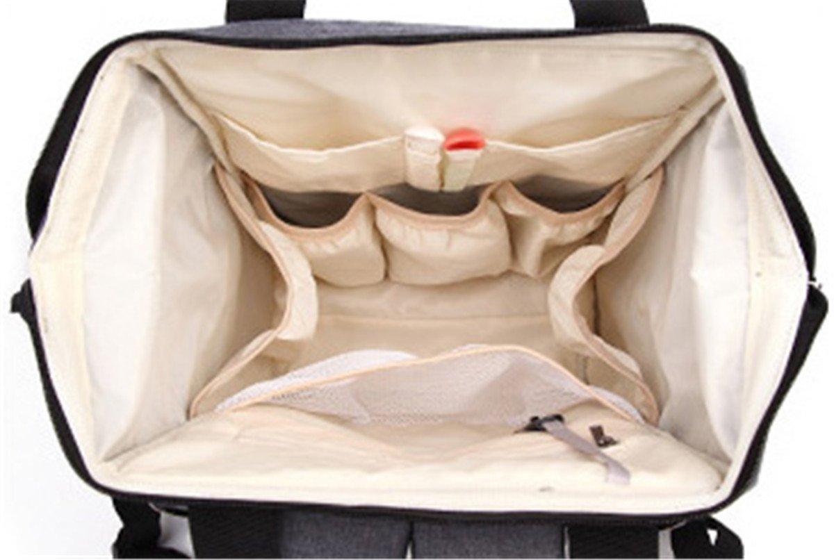 Noir Quanjie Sac a Langer B/éb/é Multifonction M/ère Sac /à Dos de Voyage Imperm/éable Oxford Sac /à Couches /Él/égant Durable Diaper Bag Mommy Backpack Avec Crochets de Poussette
