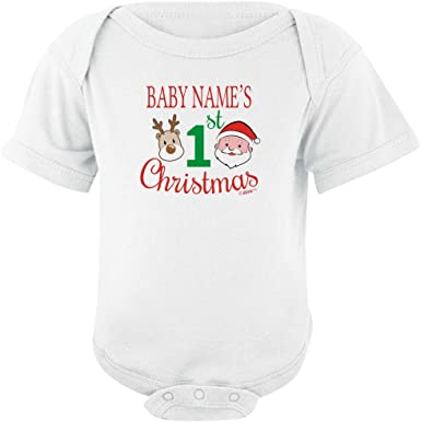 Personalized 1st First Christmas Present Personalised Bodysuit Christmas Baby Gift Set Bib and Hat Gift Set Gift for Baby Blanket