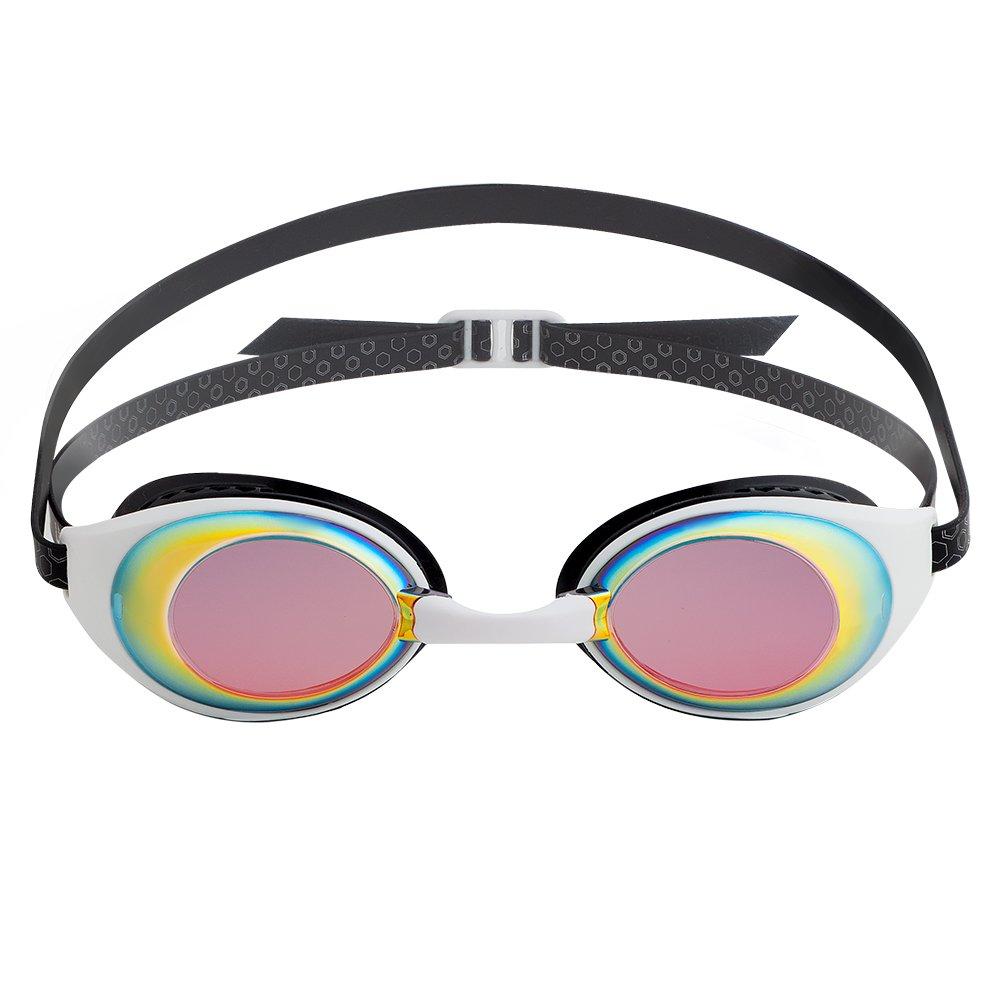 WHITE BLACK LANE4 Performance & Fitness Swim Goggle  Mirror Lenses Adults IE94610