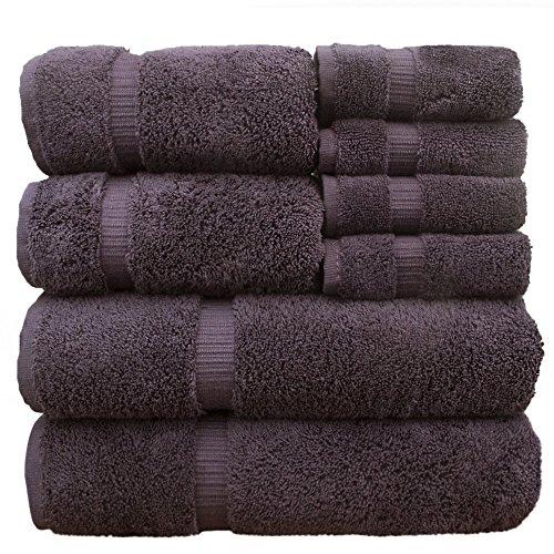 100% Cotton Luxury Hotel & Spa Towel 100% Superior Cotton Towel Bundle 8 Piece Towel Set, Plum, 2 x Bath Towels 27