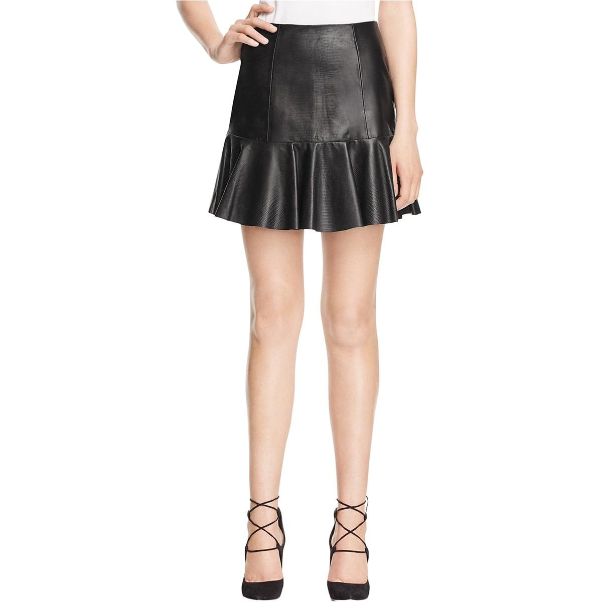 Rebecca Taylor Womens Faux Leather Above Knee Flare Skirt Black 6