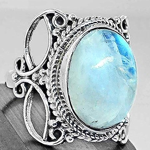 Ring,soAR9opeoF Women Vintage Hollow Carving Round Artificial Moonstone Ring Finger Jewelry - Antique Silver US 6