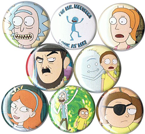 "Set of 8 Rick & Morty 1"" Pins/Buttons/Badges"