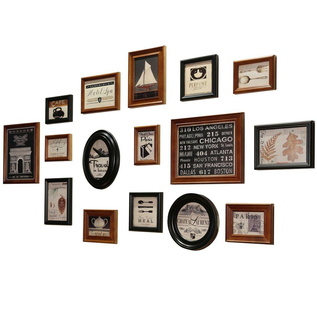 Amazon.de: Holz Bilderrahmen Mehrere Fotos Wandset 16 Stück Braun ...