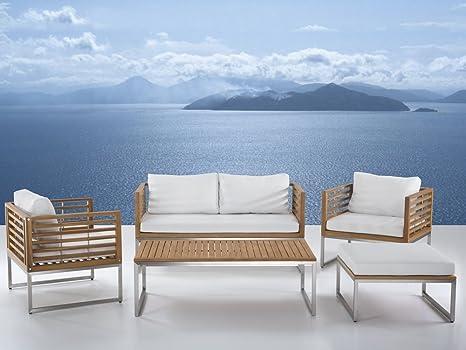 Gartenmöbel Set Holz 4 Sitzer Auflagen Weiß Bermuda Beliani