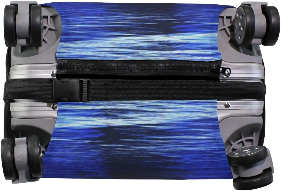 3D Blue Sea Night Print Luggage Protector Travel Luggage Cover Trolley Case Protective Cover Fits 18-32 Inch