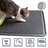 Cat Litter Mat,BPA Free,Soft, Easy Clean, Durable, Non Toxic Trapper Rug Litter Box Mat, Cat Mat,Gray, Large(35.5 x 24inch)