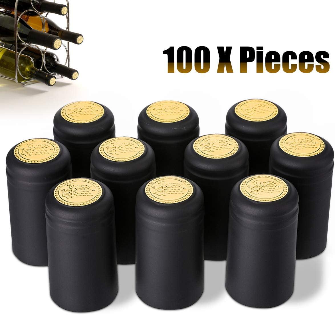 leicht Verschlie/ßen und Abrei/ßen mit Sollten Gold Rot und Schwarz Schwarz Janolia Wein Flasche Kappen Tab 100/pcs Schrumpfschlauch Wein Flasche Kapseln Stopper