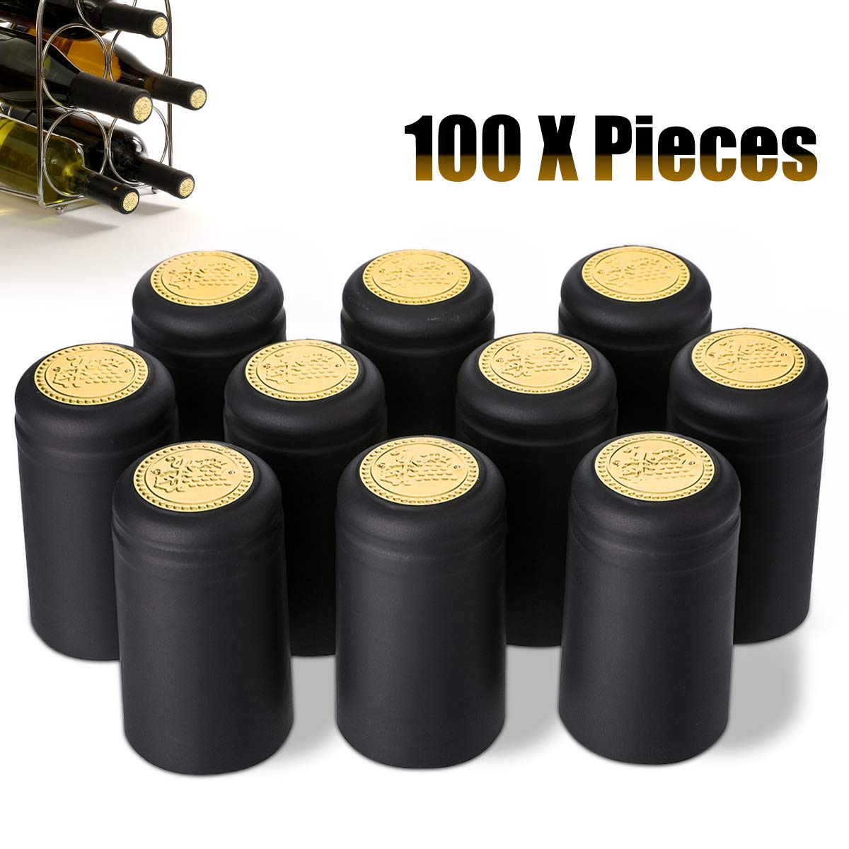 Janolia Heat Shrink Capsules, 100Pcs Wine Shrink Caps Bottle Seals, Easily Seal and Tear Off with Tearing Tab, Great Gift for Father, Black by Janolia