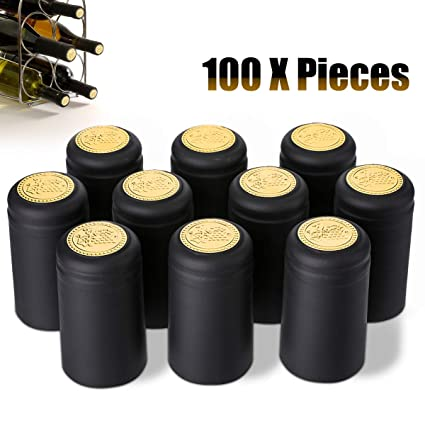 Janolia Wine Bottle Caps, 100 Pcs Heat Shrink Wine Bottle Capsules Stopper,  Easily Seal and Tear Off with Tearing Tab, Black