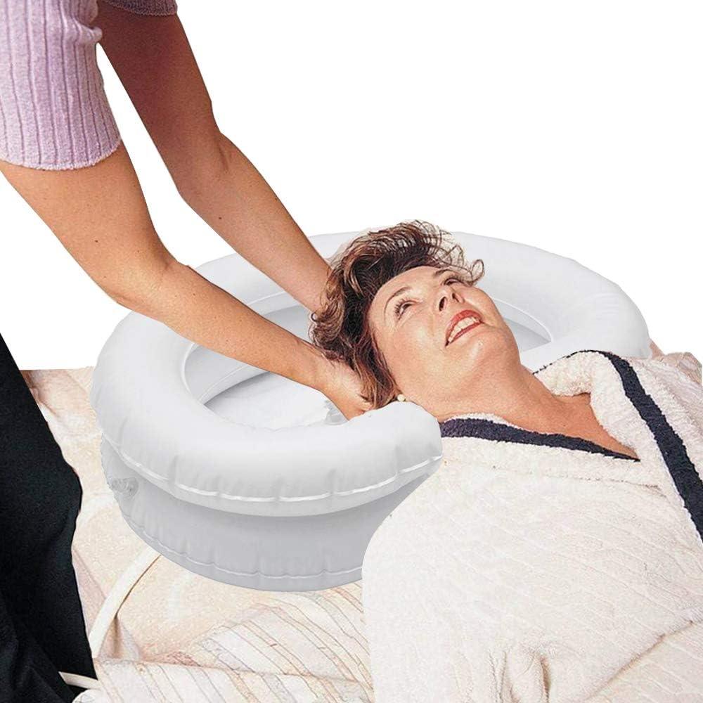 Inflatable Hair Washing Basin for Bedridden - Large Inflatable Shampoo Basin/Portable Shampoo Bowl-in Pillow for Supreme Comfort. Portable Hair Washing Sink for Soaking Locks (White)