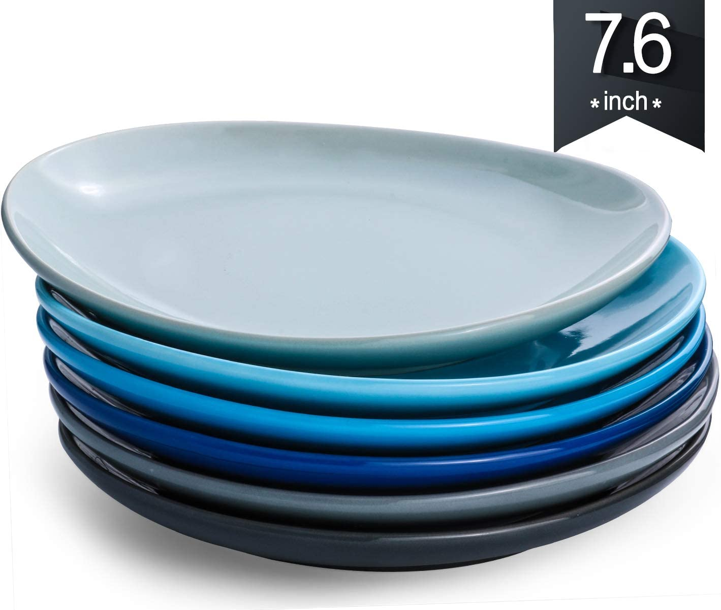 KOMUEE Porcelain Dinner Plates - 5.5 Inch - Set of 5, Cool Assorted Colors