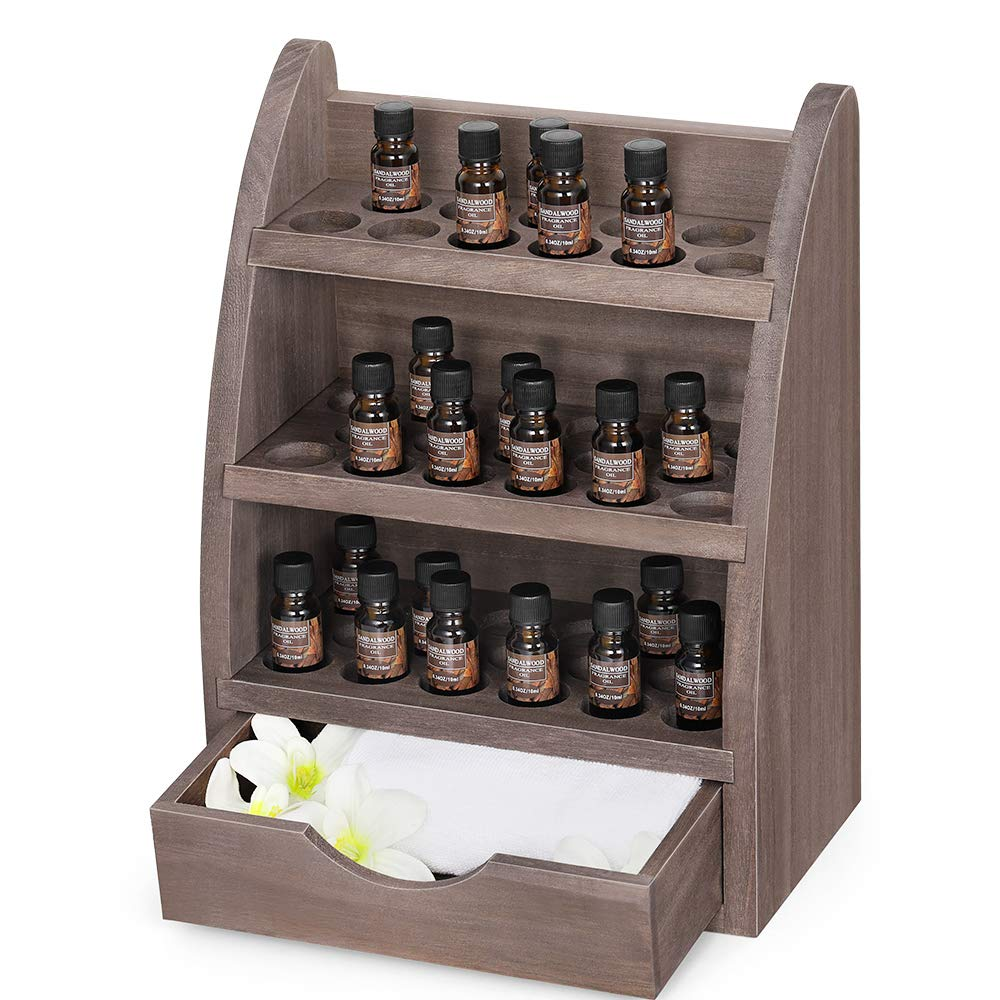 Essential Oils Rack Wooden Nail Polish Storage Organizer, 3 Tiers Removable Cosmetic Perfume Shelf Holder, 45 Slots Wood Storage Display Stand for 5/10/15/20ml Essential Oil Bottles (Natural Brown)