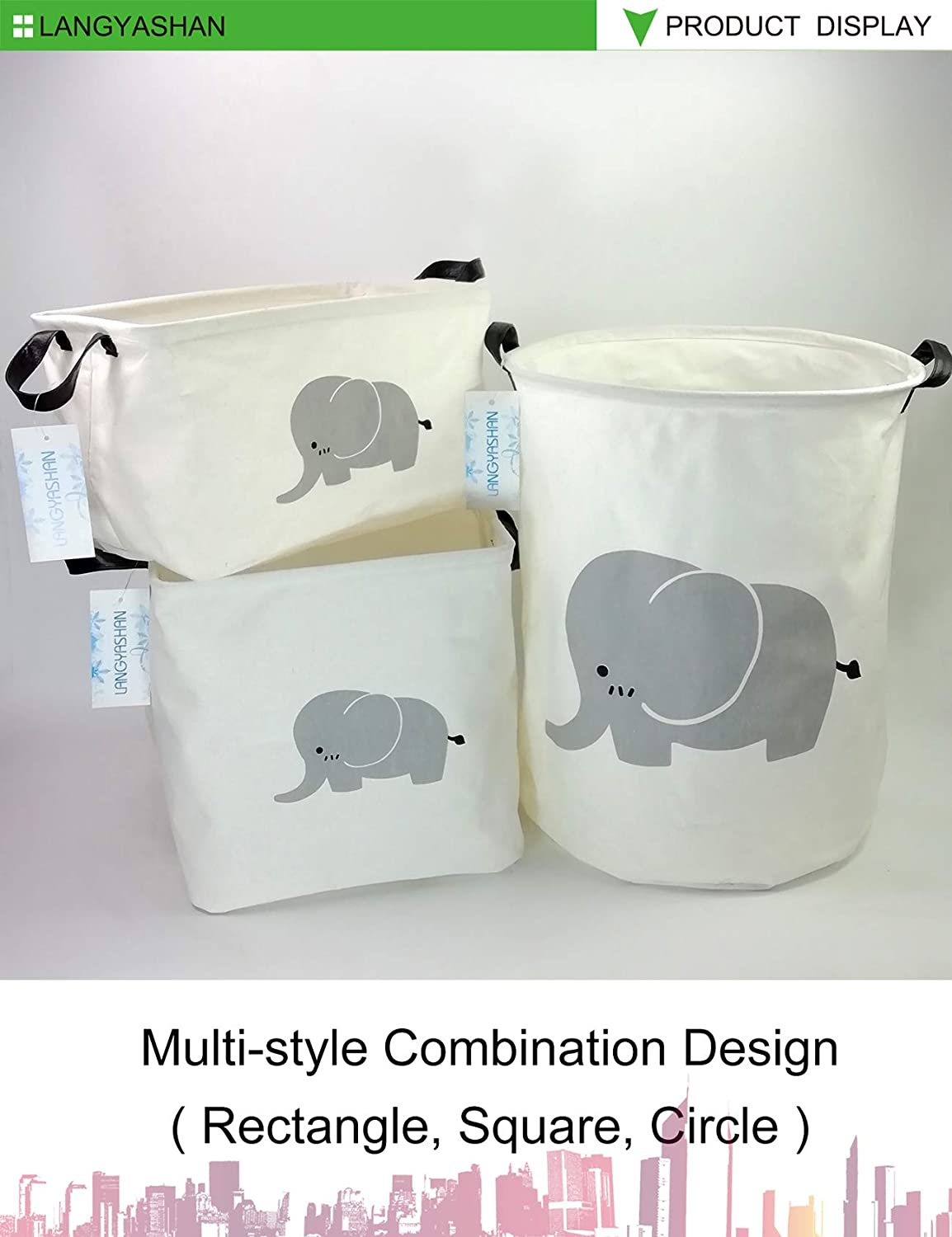 REC Elephant LANGYASHAN Storage Bin,Canvas Fabric Collapsible Organizer Basket for Laundry Hamper,Toy Bins,Gift Baskets Bedroom Clothes,Baby Nursery