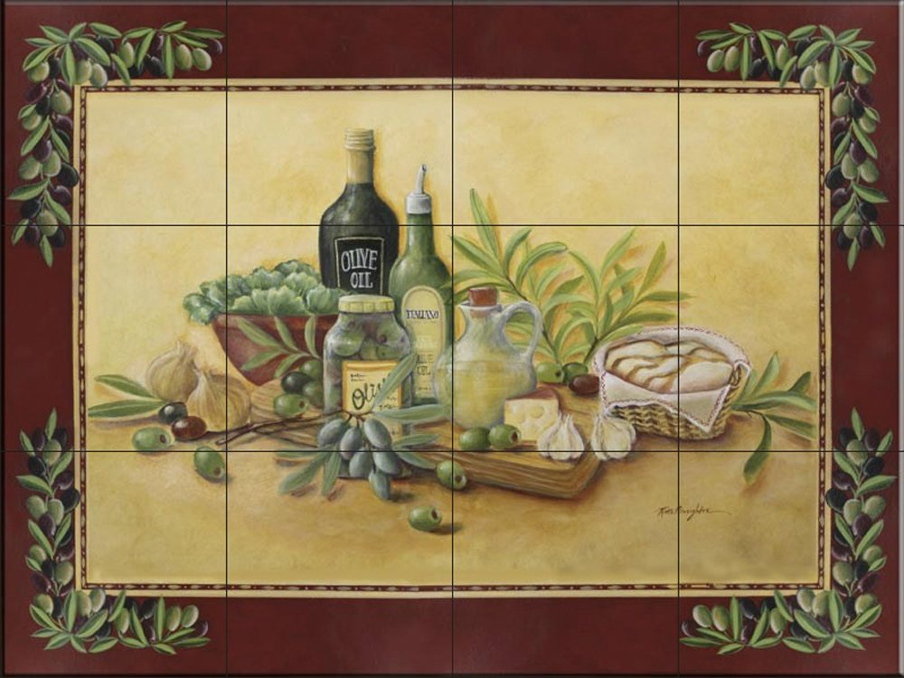 Ceramic Tile Mural - Tuscan Bounty with Border- by Rita Broughton - Kitchen backsplash/Bathroom shower